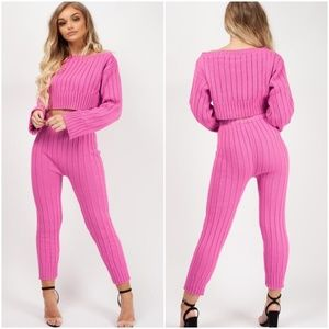 NEW Amanda Knit Pink 2 Piece Lounge Set